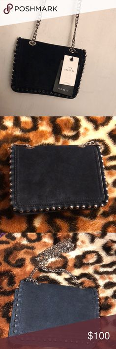 NWT Zara mini bag! Real suede leather chain purse. Has one interior pocket. Bag can be worn as a clutch as well. Zara Bags