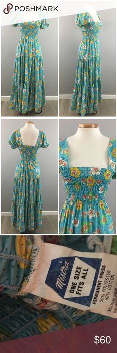 """Vintage 70's Floral Peasant Prairie Maxi Dress Vintage 70's Floral Peasant Prairie Maxi Dress. Size medium-large. Gorgeous and unique! Dress has stretch around the top. Thank you for looking at my listing. Please feel free to comment with any questions (no trades/modeling).  •Fabric: Cotton Blend  •Bust: 24""""-41"""" •Length: 56""""  •Condition:  EUC, no visible flaws.   25% off all Bundles or 3+ items! Reasonable offers welcome. Vintage Dresses Maxi"""