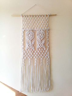 ON SALE Handmade macrame wall hanging White Home by PolymeRose