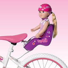 "Doll Bicycle Seat - ""My Life As"" Bike Seat Set - Purple Seat and Pink Helmet (Fits American Girl and Standard Sized Dolls and Stuffed Animals). we bought this for our daughters birthday. My Life Doll Stuff, My Life Doll Clothes, My Life Doll Accessories, American Girl Accessories, Baby Alive Dolls, Baby Dolls, American Girl Doll Sets, American Girl Furniture, Dolly Doll"
