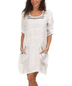 Another great find on #zulily! White Cathy Linen Dress by LIN nature #zulilyfinds