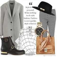 A print clash top and trousers combo with grey boyfriend coat #fashion #style #inspiration