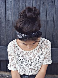 bun + bandana cute but I'm thinking a buggy worthy hairdo! Totally trying this in the Spring!!