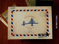Love this! - A lovely, vintage, air-mail inspired Wedding Guestbook by ESPG! $ 25 | CHECK OUT MORE IDEAS AT WEDDINGPINS.NET | #weddings #weddingplanning #coolideas #events #forweddings #weddingplaces #romance #beauty #planners #weddingdestinations #travel #romanticplaces #eventplanners #weddingdress #weddingcake #brides #grooms #weddinginvitations
