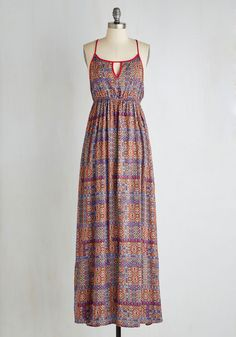 Masala Chai Morning Dress - Maxi, Americana, Long, Multi, Print, Other Print, Casual, A-line, Sleeveless, Woven, Better