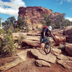 """First drop off in Upper Captain Ahab! So much fun!"" Moab, Utah. Rider: Dinno Domingo. Photo: Caren Villaroman."