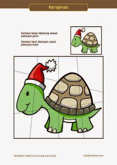 kerajinan gunting tempel PAUD (balita/TK) : buat sendiri puzzle kura-kura natal