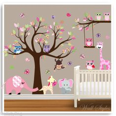 Decorating with baby nursery wall decals nursery decals will make every roo Jungle Wall Stickers, Baby Wall Decals, Childrens Wall Stickers, Nursery Decals Girl, Nursery Wall Stickers, Nursery Decor, Babies Nursery, Monkey Nursery, Wall Decor