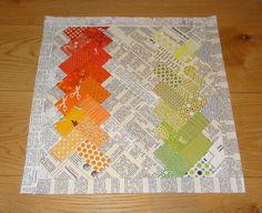 Texty Chevron Cushion WIP (Cottilello) Tags: orange green modern pattern text pillow fabric cushion chevron newsprint texty