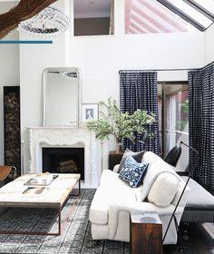 Lovely navy and white living room