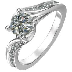 Diamond Sterling Silver Cubic Zirconia Classic Engagement Ring, Women's