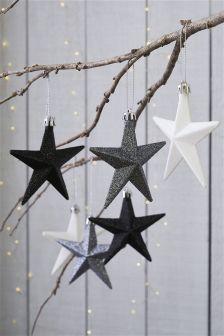 Set Of 6 Glitter Star Decorations
