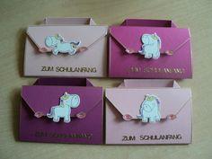 Glückwunschkarten - 4 ST Einladung/Einschulung/Schulanfang-Einhorn- - ein Designerstück von Nachtkarten bei DaWanda