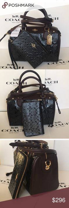 🎀🌸coach Bennett set🌸crossbody/Satchel Both authentic brand new with tags. Black/oxblood trim color. Strap purse removable . Patent signature leather. Gold hard wear both. Beautifully set⭐️🎆 Lx9.5 Hx7 Wx5.5 Coach Bags Crossbody Bags