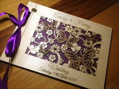 UNIQUE FLORAL/BUTTERFLY BIRCH WOOD LASER CUT PERSONALISED WEDDING GUEST BOOK | wowthankyou.co.uk
