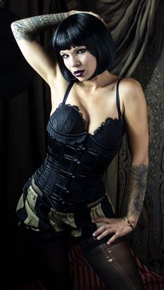 Taupe and Black Inch Stripe Mini Micro Bloomers Kiss Beauty, Dark Beauty, Gothic Beauty, Beautiful Girl Image, Beautiful Asian Girls, Cute Short Haircuts, Goth Women, Girls Wear, Bad Girls