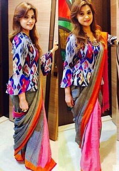 Long length blouse designs are highly in trend and all thanks to various celebrities and designers who have made this design practically cool and one o the best. Long blouse patterns are perfect fo Stylish Blouse Design, Fancy Blouse Designs, Choli Designs, Sari Blouse Designs, Designer Blouse Patterns, Design Of Blouse, Latest Blouse Designs, Latest Blouse Patterns, Traditional Blouse Designs