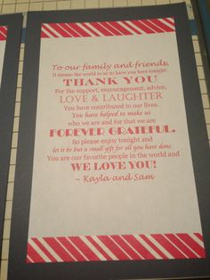 Thank you notes for each place setting.