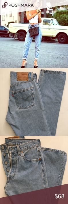 """Vintage Levi's 501 Jeans Flawless and stunning pair of Levi's 501 jeans. Button fly. Currently being sold in high-end vintage boutiques for between $150-$400. Men's size 28, which is around a women's size 26. Measurements are waist: 14"""". Hip: 18"""". Rise: 11"""". Inseam: 31"""". This exact pair is being sold on the popular website Re/Done for $268. Levi's Jeans"""