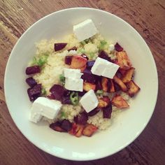 Lovely veggie dinner w couscous, sweet potato, beetroot and feta cheese with olive oil - lemon - chili sauce
