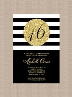 Gold 16th Birthday Party Invitation, Black and White Stripes, Sweet Sixteen Birthday Invitation, Milestone Birthday, Printable Invitation by Honeyprint on Etsy (null)