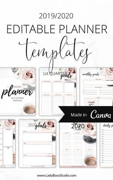 Get our beautiful 2019/2020 Blush Planner Templates for Canva! Already gorgeous but so easy to edit and brand to your own business taste! Designing has never been easier than with Canva! Use these planners over and over again for all your business needs! You need to check out our Planner Canva templates!