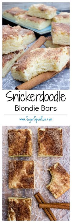 argentina dessert recipes, argentina dessert recipes, cake mix dessert recipes - Snickerdoodle Blondie Bars--tastes just like the cookie! Brownie Recipes, Cookie Recipes, Dessert Recipes, Bar Recipes, Paleo Dessert, Recipies, Just Desserts, Delicious Desserts, Yummy Food