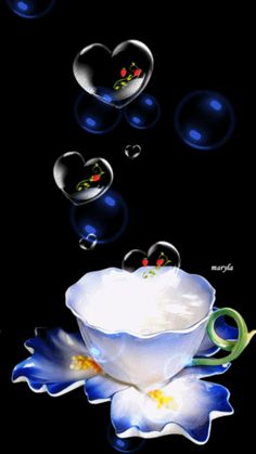 Blessing Bubbles with a cup of tea for you from me ¥! Have a Happy Weekend! Good Morning Friends, Good Morning Good Night, Animated Heart, Animated Gif, Corazones Gif, Animiertes Gif, Gif Photo, Beautiful Gif, Beautiful Pictures