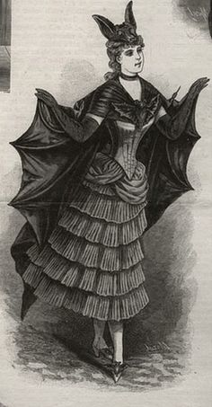 """Victorian bat costume illustration from the 1892 book """"Masquerade and Carnival Their Customs and Costumes"""" by E. Butterick These book has hundreds of illustrations as well as descriptions of types of Tableaux Masquerade Balls and how to host them. You can find an original copy on Amazon or Ebay (Amazon will be cheeper, $50 instead of $250 on ebay) or a reproduction of the original book on Ebay for around $20. It is well worth it."""