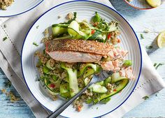 Crisp-skinned salmon with vegetable quinoa recipe: juicy salmon fillets, courgette ribbons and spicy vegetable quinoa make this a healthier evening dinner Healthy Salmon Recipes, Seafood Recipes, Recipe Using Salmon, Clean Eating Snacks, Healthy Eating, Vegetable Quinoa, Vegetable Stock, Meals Under 500 Calories, Sainsburys Recipes