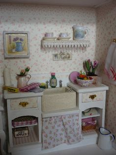 shabby chic kitchen. She put lace around the shelf like mom always did. And now I do. It does make it nicer.