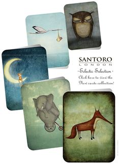 News from Santoro: New additions to the Santoro Eclectic Collection Santoro London, 3d Cards, Friday Feeling, Art Supplies, Bookends, Stationery, Greeting Cards, Inspirational, News