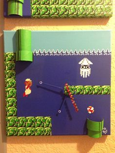 A personal favorite from my Etsy shop https://www.etsy.com/listing/252463591/mario-clock-under-water-hand-painted