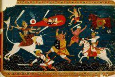 Durga Kills the Demon Raktabija.: Present Location: Varanasi (Banaras), Banaras Hindu University, Bharat Kala Bhavan. India Date: ca 1660 CE. Style: Indian.  Manuscript: from a Durga Patha Manuscript