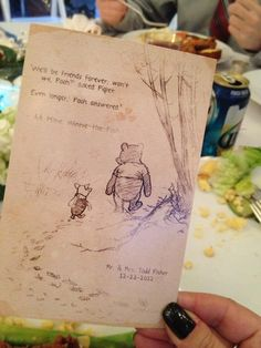 Adorable table cards (wedding style) sorry but winnie the pooh gets me everytime