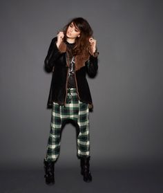 One Teaspoon - Wastelands Collection; leather and fur jacket, green plaid pants, combat boots