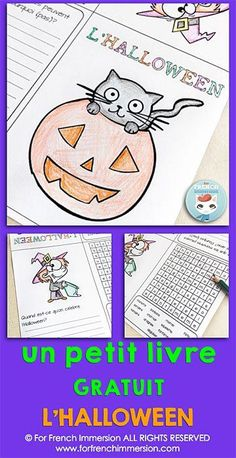 FREE French Hallowee FREE French Halloween Mini-book: print and go activity for your French classroom! Halloween Vocabulary, Halloween Worksheets, Halloween Activities, Learning French For Kids, Ways Of Learning, French Language Learning, Spanish Language, Learning Spanish, French Teaching Resources
