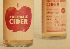 Rochdale Cider The antique paper texture, fruit stamp-like apple logo, and boxing poster-inspired font gave a fun and retro feel to these cider bottles.