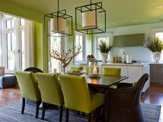 I really like the light fixtures. The open dining room at HGTV Dream Home 2013 features casual-chic furnishings and modern cage-style light fixtures. Modern Dining Room, Green Dining Room, Small Dining Room Table, House Interior, Home, Interior, Room Design, Dining Room Small, Home And Living