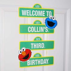 Custom Printable Sesame Street Inspired Birthday Sign / Welcome Sign / Party Decoration / Elmo and Cookie Monster