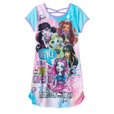 """Girls 6-16 Monster High """"Dance Til The Sun Comes Up"""" Graphic Dorm Nightgown"""