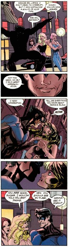 """Honey, you can have *hours*."" Also, good thing you've got that Batman impression in your back pocket, Grayson. Never know when you're gonna need it. (Nightwing/Huntress #3)"