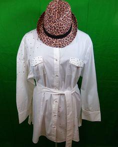 Women's Ashley Stewart Plus Size White Belted Long Sleeve Blouse Size 22W   eBay