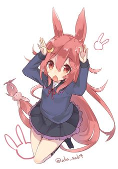 Anime picture 700x1000 with  kantai collection uzuki destroyer sakofu single tall image blush looking at viewer open mouth simple background white pink hair animal ears very long hair pink eyes signed from above bunny ears bunnygirl jumping kemonomimi mode