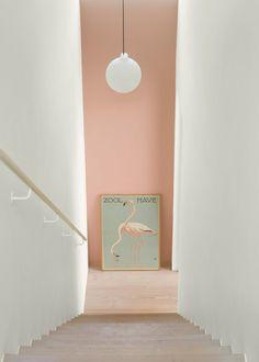 Wall Paint: Fenomastic My home Rich Matt: 2992 Delightful pink, Rich Matt 1624 Skylight Pink Hallway, Hallway Colours, Wall Colors, Jotun Lady, Halls, Colour Architecture, Home Living, Interiores Design, Hygge