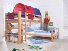 Fain European Single L-Shaped Bunk Bed with Tunnel Zoomie Kids Frame colour: Beech, Fabric colour: Red/Blue Cool Bunk Beds, Kid Beds, Childrens Beds, Betta, All The Colors, Bedroom Furniture, Red And Blue, Toddler Bed, Cool Stuff
