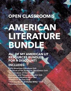 Lighten your American Lit course load! Includes Early American Lit, Revolutionary Lit, Slavery Lit, Romantic Lit and much more all bundled for a 20% discount! $