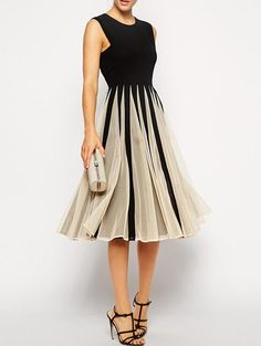 Color-block Sleeveless With Mesh Pleated Dress