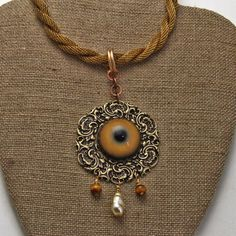 Steampunk Eye of The Tiger  Necklace Mixed Metals and by oscarcrow, $48.00