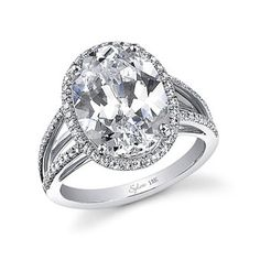 platinum and diamond ring with oval-cut center stone, Sylvie Collection (Style SY940)